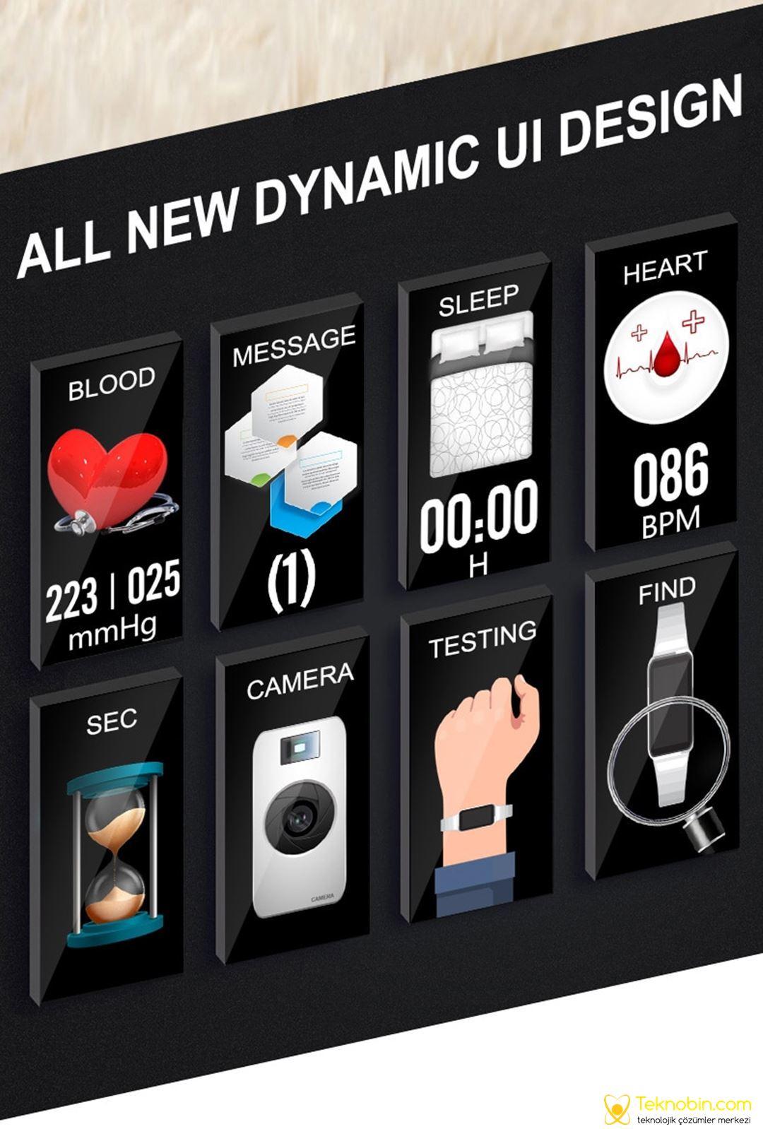 Lemfo H8 Bayan Smartwatch Aklıllı Kol Saati Fitness, IP67 Su Geçirmez