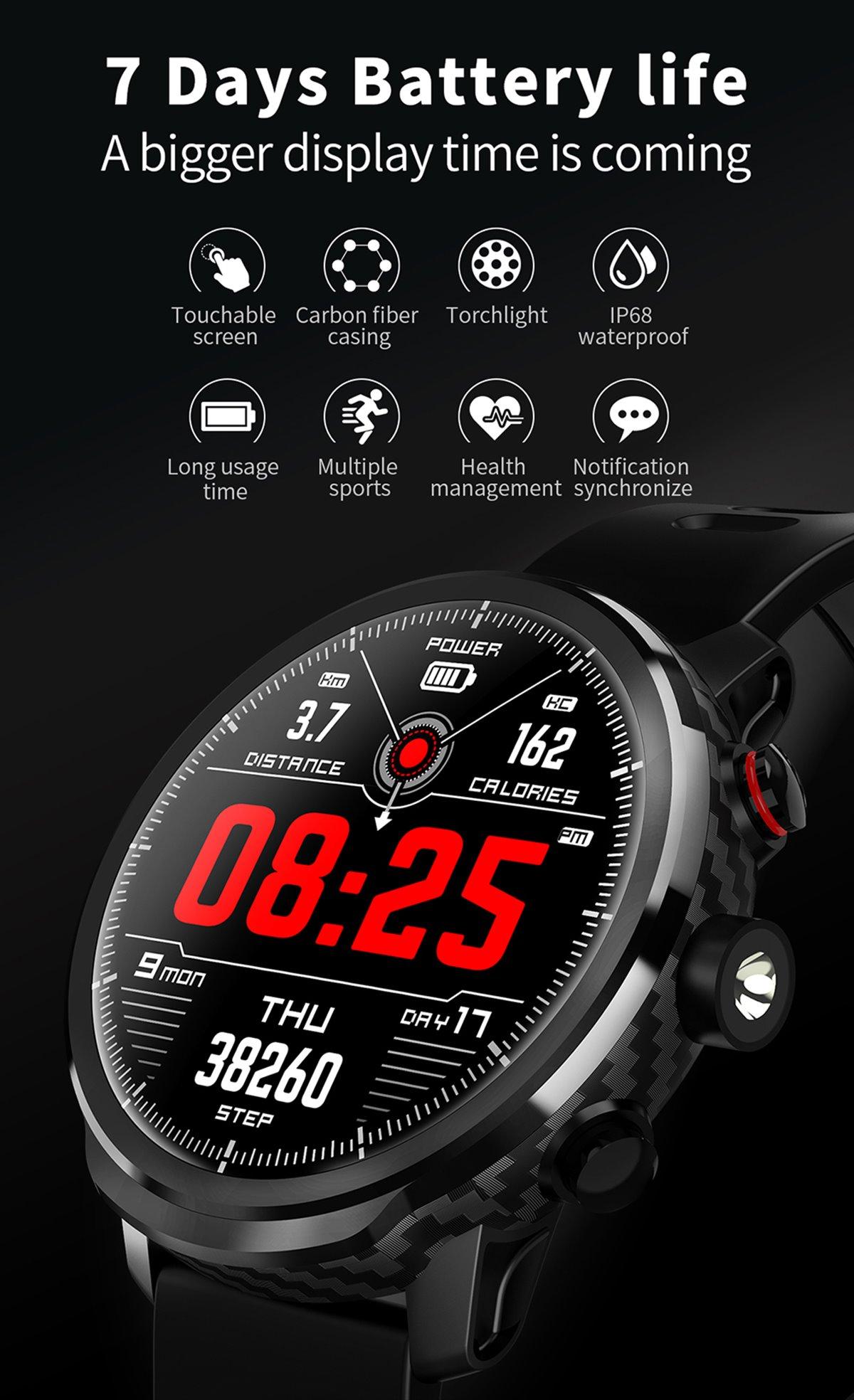 Lemfo L5 Akıllı Saat Karbon Fiber Kasa 100 Gün Pil Ömrü