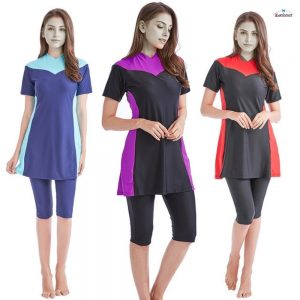 3 colors conservative Muslim swimwear short sleeve conservative diving suit