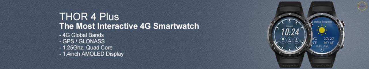 Zeblaze THOR 4 Plus 4G Küresel Bant GPS GLONASS Android Quad Core Akıllı Saat