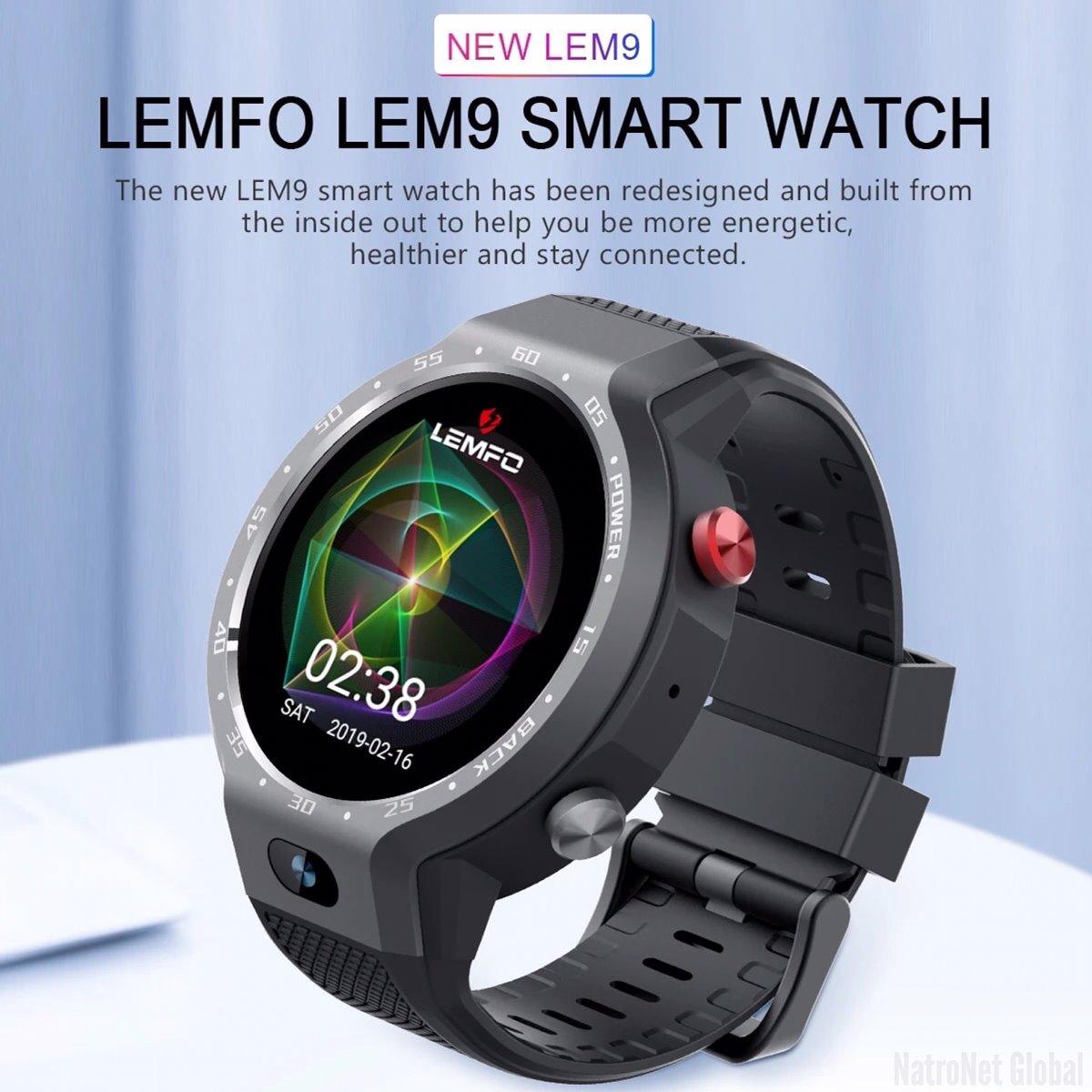 LEMFO LEM9 - Çift Sistemli Akıllı Saat 4G LTE Telefon Android 7.1.1 1GB + 16GB 1.39 inç Ekran 5MP Ön Kamera 600Mah Pil