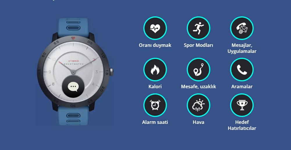 Zeblaze Hibrid Akıllı Saat Kalp Hızı Kan Basıncı monitörü Akıllı Bildirimler