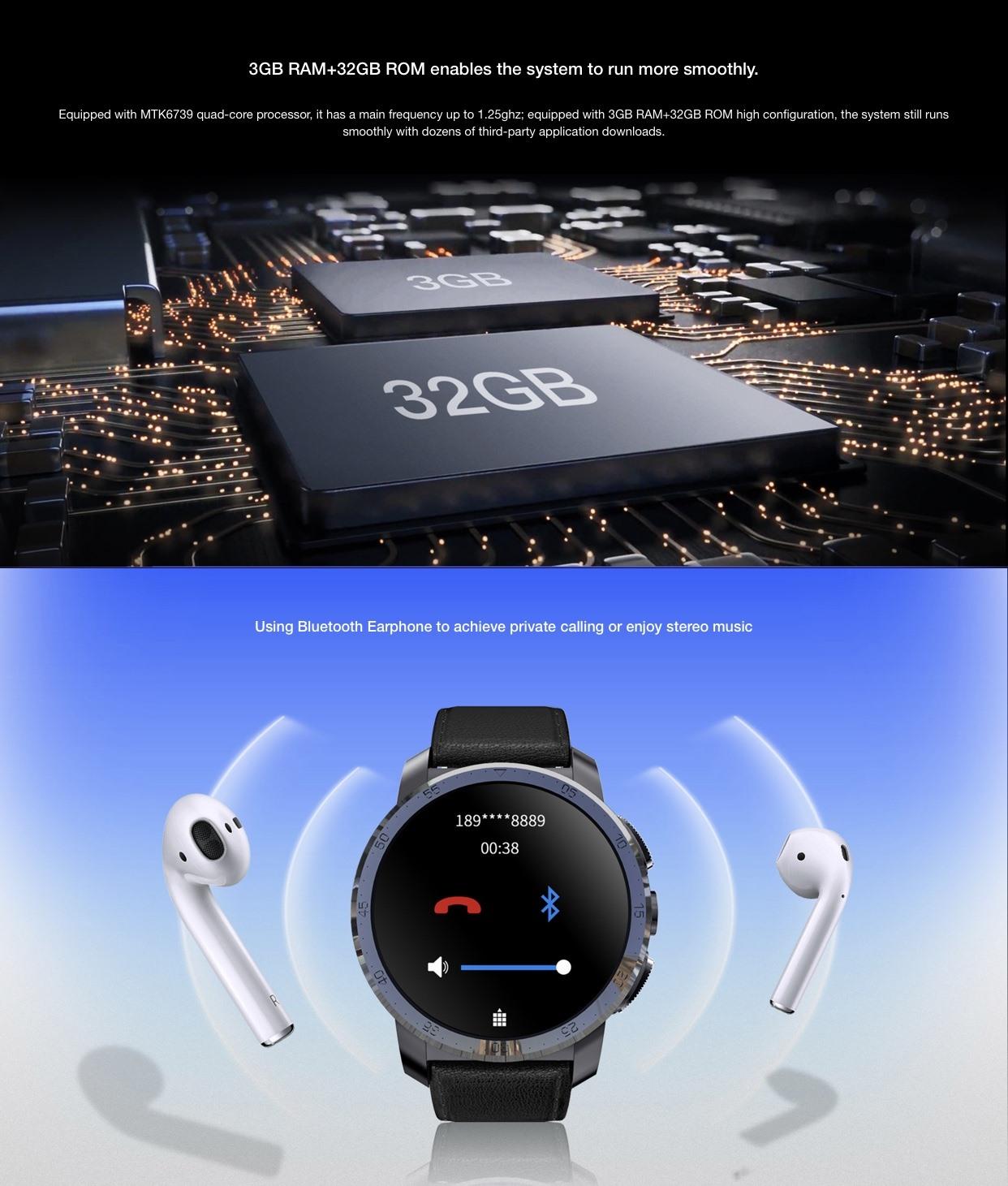 Kospet Optimus Pro 3GB 32GB Çift İşlemcili 4G Akıllı Saat+ Akıllı Telefon
