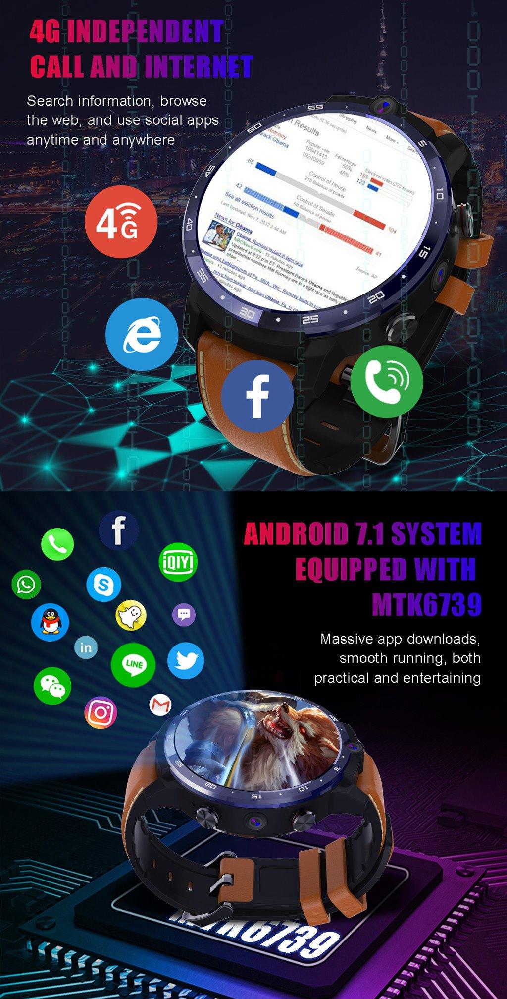 LEMFO LEM12 1.6 inç HD Ekran Android 7.1 Çift Kamera 3G + 32G Akıllı Saat