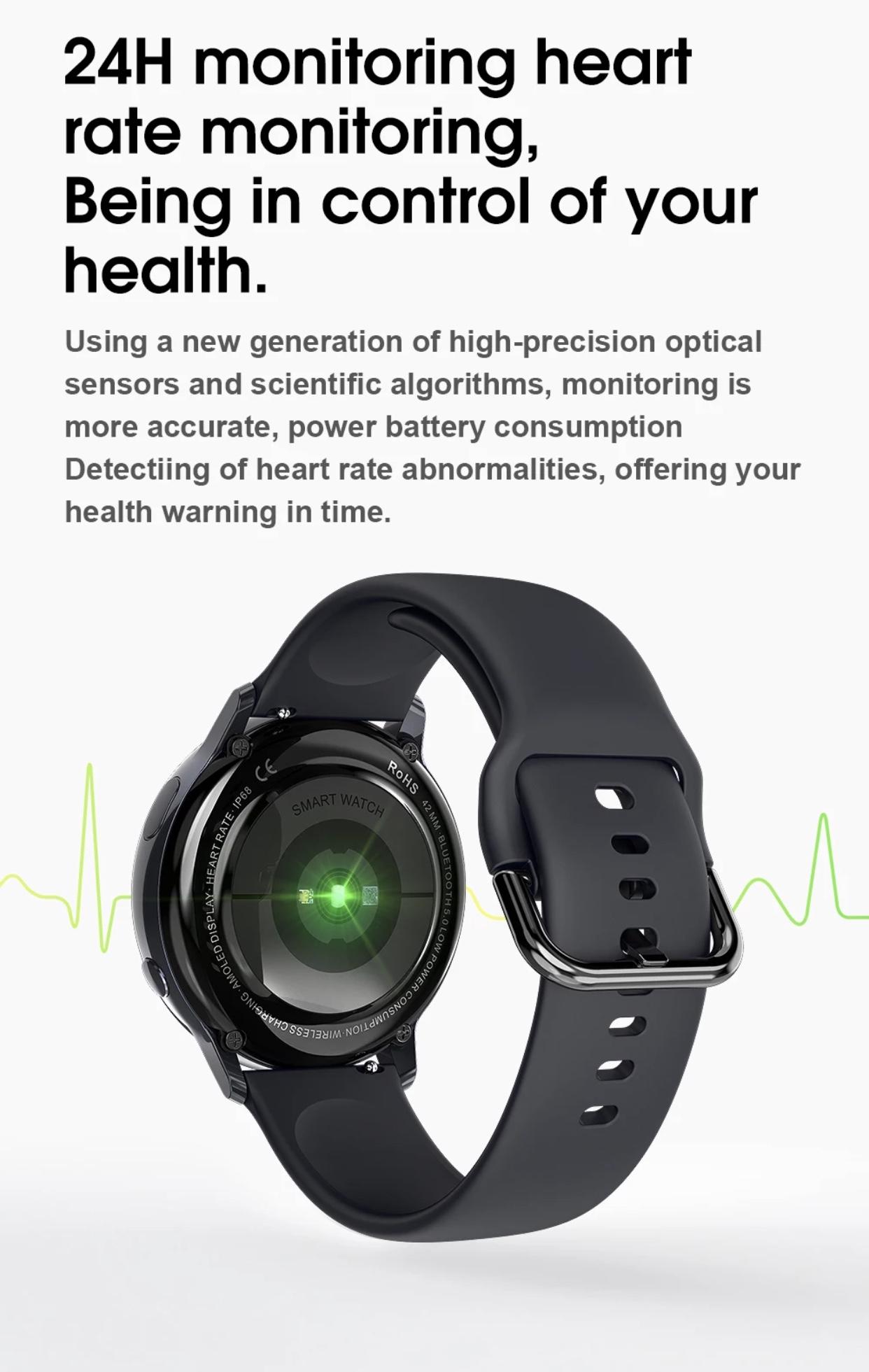 Lemfo SG2 Tam Dokunmatik AMOLED Ekran Kablosuz Şarj Özellikli Akıllı Saat