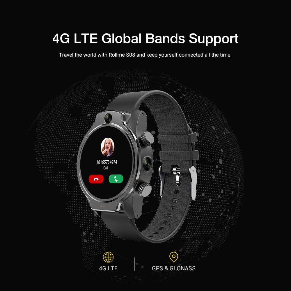 Rollme RM-S08 Akıllı Saat 4G LTE SİM 1.69inch MTK6739 Dört çekirdekli 3GB + 32GB 8MP + 8MP 1360mAh Batarya