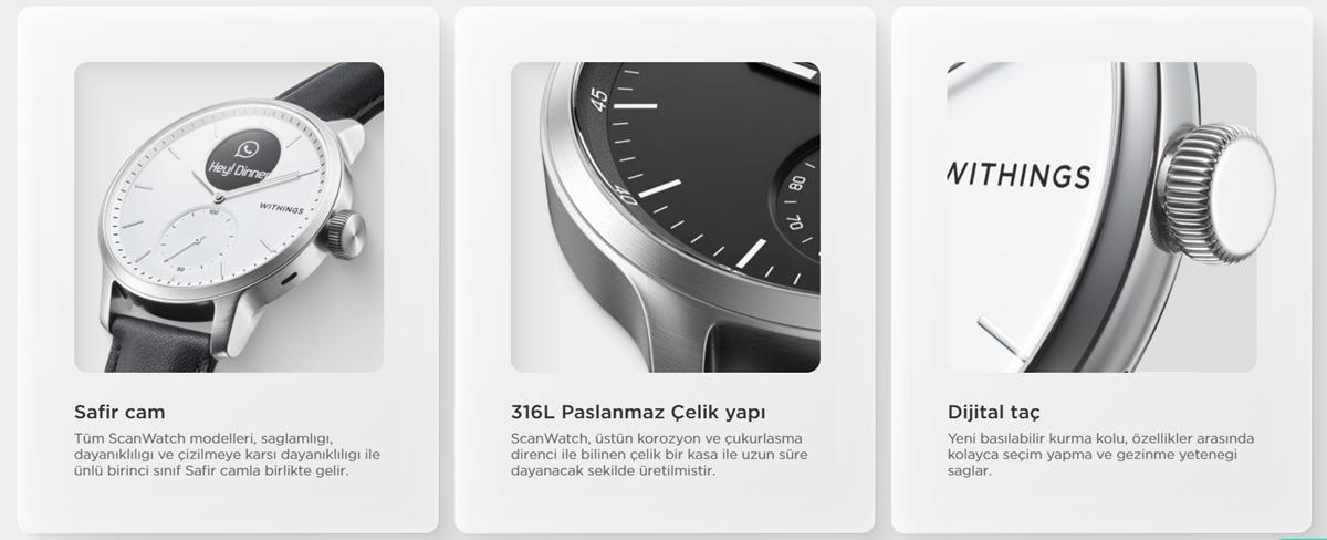 Withings ScanWatch EKG, Nabız ve Oksimetre özellikli Hibrit Akıllı Saat