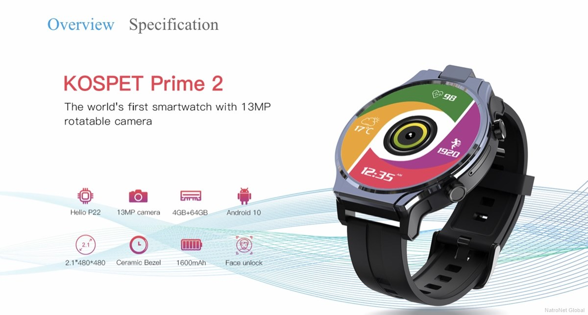 Kospet Prime 2 2.1 '' 480 * 480px 4GB + 64GB Octa-core 4G-LTE Akıllı Saat
