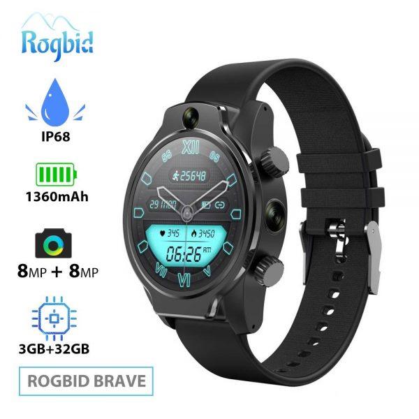 Rogbid Brave 4G Akıllı Saat Seramik Bezel 8MP Çift Kamera 3560mAh batarya